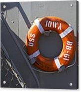 Life Ring Uss Iowa Battleship Acrylic Print
