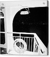 lifebelt on board the hurtigruten ship ms midnatsol at night in winter in Tromso troms Norway Acrylic Print by Joe Fox