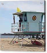 Lifeguard Shack At The Santa Cruz Beach Boardwalk California 5d23710 Acrylic Print by Wingsdomain Art and Photography