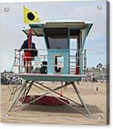 Lifeguard Shack At The Santa Cruz Beach Boardwalk California 5d23711 Acrylic Print by Wingsdomain Art and Photography