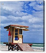 Lifeguard Station In Hollywood Florida Acrylic Print by Terry Rowe