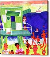Lifeguard Station On Beach In Miami Acrylic Print