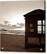 Lifeguard Tower Sunrise In Sepia Acrylic Print
