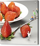 Lifting Strawberry By A Fork Lever Food Physics Acrylic Print