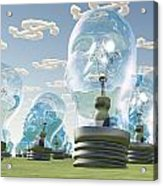 Light Bulb Heads And Dollar Symbol Clouds Acrylic Print