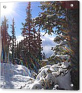 Sunburst Banff Mountain Top Calgary Canada. Acrylic Print