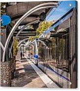 Light Rail Train System In Downtown Charlotte Nc Acrylic Print