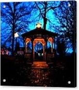 Lighted Gazebo Sunset Park Acrylic Print