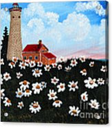 Lighthouse And Daisies Acrylic Print