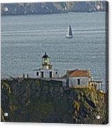 Lighthouse And Sailboat Acrylic Print