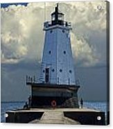 Lighthouse At The End Of The Pier In Ludington Michigan Acrylic Print
