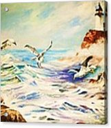 Lighthouse Gulls And Waves Acrylic Print