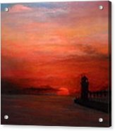 South Haven Mi Lighthouse In Four Seasons Summer Acrylic Print