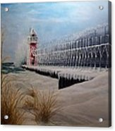 South Haven Mi Lighthouse In Four Seasons-winter Acrylic Print