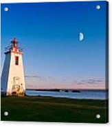 Lighthouse In The Light From Moon And Sun Acrylic Print