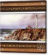 Lighthouse In Vintage Frame Acrylic Print