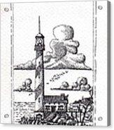 Lighthouse On A Cliff Pointillist Acrylic Print