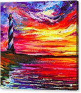 Lighthouse - Palette Knife Oil Painting On Canvas By Leonid Afremov Acrylic Print