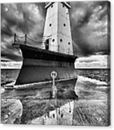 Lighthouse Reflection Black And White Acrylic Print