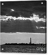 Lighthouse Sun Rays Bw Acrylic Print