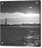 Lighthouse Sun Reflections Bw Acrylic Print