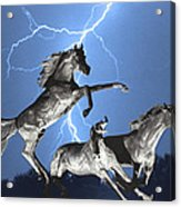 Lightning At Horse World Bw Color Print Acrylic Print