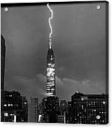 Lightning Hits Empire State Acrylic Print