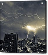 Lightning Over Downtown Yxe Acrylic Print by Gerald Murray Photography