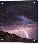 Lightning Over Jumbo Rocks Acrylic Print