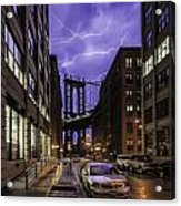 Lightning Over Manhattan Bridge Acrylic Print