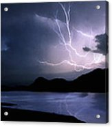 Lightning Over Quartz Mountains - Oklahoma Acrylic Print
