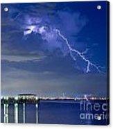 Lightning Over Safety Harbor Pier Acrylic Print