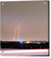 Lightning Strikes Next To Highway Panorama Acrylic Print