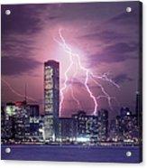 Lightning Striking Chicago Skyline Acrylic Print