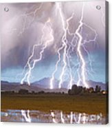 Lightning Striking Longs Peak Foothills 4c Acrylic Print by James BO  Insogna