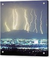 Lightning Striking Over Phoenix Arizona Acrylic Print