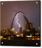 Lightning With The St Louis Arch Acrylic Print