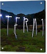 Lightpainting Image Spelling The Word Acrylic Print