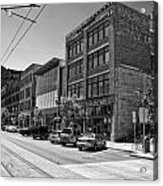 Light Rail Line And Old Downtown Buildings_bwhdr Acrylic Print