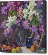 Lilacs And Blue Vase Acrylic Print