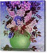 Lilacs And Queen Anne's Lace In Pink And Purple Acrylic Print