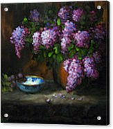 Lilacs In Copper Pot Acrylic Print