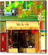 Lili And Oli Latte Espresso Cappucino Coffee Shop Rue Notre Dame St Henri City Scene Carole Spandau Acrylic Print
