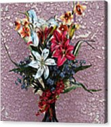 Lilies And Orchids Digitized Purple Acrylic Print
