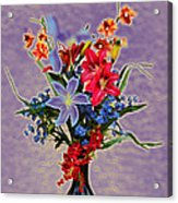 Lilies And Orchids Topaz II Acrylic Print