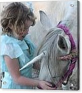 Lilly And Her Unicorn Acrylic Print