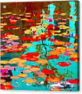 Lily Pads And Koi Colorful Water Garden In Bloom Waterlilies At The Lake Quebec Art Carole Spandau  Acrylic Print