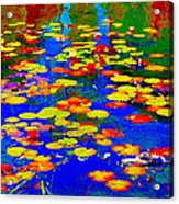 Lily Pads And Koi  Pond Waterlilies Summer Gardens Beautiful Blue Waters Quebec Art Carole Spandau  Acrylic Print