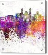Limassol Skyline In Watercolor Background Acrylic Print