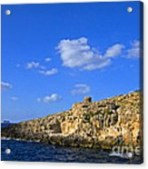Limestone Rock, Mediterranean Sea, Malta Acrylic Print